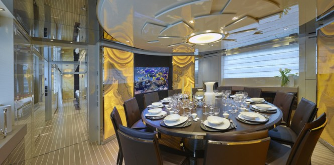 Dining area seating 12 guests on the SL106 specifically built for the Greater China superyacht market